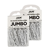 JAM Paper® Colored Jumbo Paper Clips, Large 2 Inch, White Paperclips, 2 Packs of 75 (2184934a)