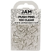 JAM Paper® Colored Pushpins, Clear Push Pins, 2 Packs of 100 (222419050A)