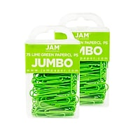 JAM Paper® Colored Jumbo Paper Clips, Large 2 Inch, Lime Green Paperclips, 2 Packs of 75 (21830627a)