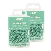 JAM Paper® Colored Standard Size Paper Clips, Teal Paperclips, 2 Packs of 100 (21832064a)