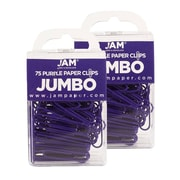 JAM Paper® Colored Jumbo Paper Clips, Purple Paperclips, 2 Packs of 75 (42186879a)