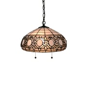 Amora Lighting Tiffany Style 2-Light, White Hanging Lamp with Pull Chains (AM298HL16)