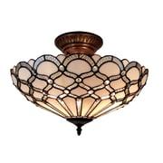 Amora Lighting Tiffany Style 2-Light, White Ceiling Lamp (AM108CL17)