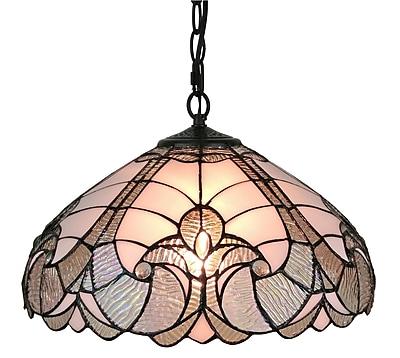 Amora Lighting Tiffany Style 2-Light, White Hanging Lamp (AM297HL16)