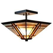 Amora Lighting Tiffany Style 2-Light, Mission Style Semi-Flush Ceiling Lamp (AM085CL14)