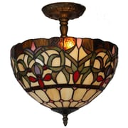 Amora Lighting Tiffany Style 2-Light, Stained Glass Ceiing Lamp (AM1081HL12)