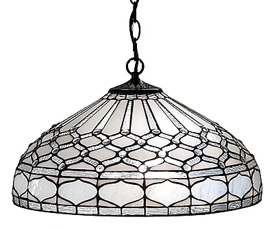 Amora Lighting Tiffany Style 2-Light, Royal White Hanging Lamp (AM221HL18)