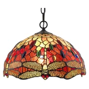 "Amora Lighting Tiffany Style 1-Light, Dragonfly Hanging Lamp, 14"" Diameter (AM1034HL14)"