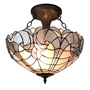 Amora Lighting Tiffany Style 2-Light, White Semi-Flush Ceiling Lamp (AM216HL16)