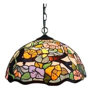 Amora Lighting Tiffany Style 2-Light, Flora Hanging Lamp (AM104HL16)