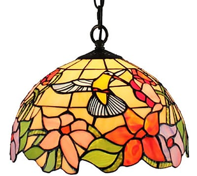Amora Lighting Tiffany Style 1-Light, Hummingbird Pendant Lamp (AM1082HL12)