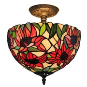 Amora Lighting Tiffany Style 2-Light, Sunflowers Semi-Flush Ceiling Lamp (AM1087HL12)