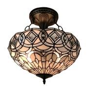 Amora Lighting Tiffany Style 2-Light, White Semi-Flush Ceiling Lamp (AM231HL16)