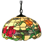 Amora Lighting Tiffany Style 1-Light, Floral Hummingbirds Hanging Lamp (AM227HL16)