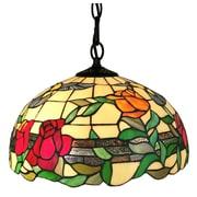 Amora Lighting Tiffany Style 1-Light, Floral Hummingbirds Hanging Lamp (AM227HL16)