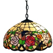 "Amora Lighting Tiffany Style 2-Light, Hummingbirds Floral Hanging Lamp, 16"" Diameter (AM019HL16)"
