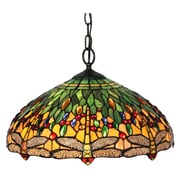 "Amora Lighting Tiffany Style 2-Light, Dragonfly Hanging Lamp, 18"" Diameter (AM1027HL18)"
