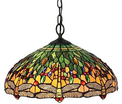 Amora Lighting Tiffany Style 2-Light, Dragonfly Hanging Lamp, 18
