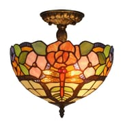 Amora Lighting Tiffany Style 2-Light, Flora Ceiling Lamp (AM050CL12)