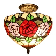 Amora Lighting Tiffany Style 2-Light, Roses Ceiling Lamp (AM049CL12)