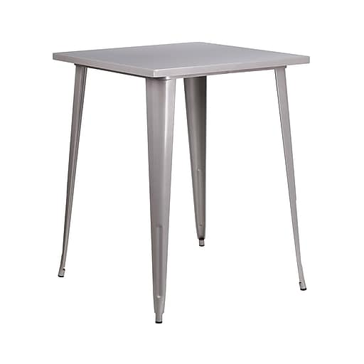 """Offex 31.5"""" Square Bar Height Silver Metal Indoor-Outdoor Table (OF-51040-40-SIL)"""
