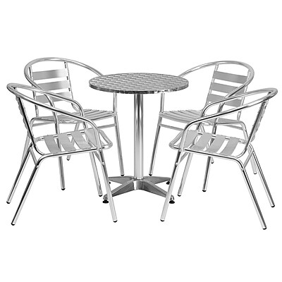 """Offex 23.5"""" Round Aluminum Indoor-Outdoor Table with 4 Slat Back Chairs (OF-AL24D7BCR4)"""