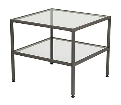 Offex Modern Camber Collection One Shelf End Table, Pewter/Clear Glass (OF-71002)