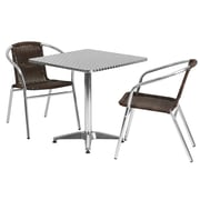 "Offex 27.5"" Square Aluminum Indoor-Outdoor Table Set with 2 Dark Brown Rattan Chairs (OF-TH-AL2Q20CR2)"
