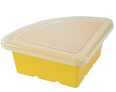 Offex Quarter Circle Classroom Storage Bin with Lid Yellow, 4 Pack (OF-ELR-0803-YE)