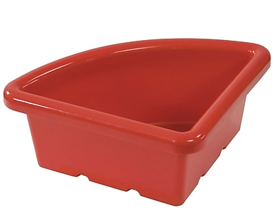 Offex Quarter Circle Classroom Storage Bin without Lid, Red, 4 Pack (OF-ELR-0802-RD)