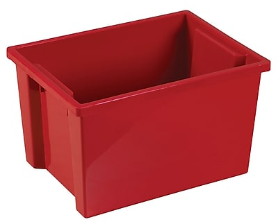 Offex Large Storage Bins without Lid, Red, 6 Pack (OF-ELR-0722-RD)