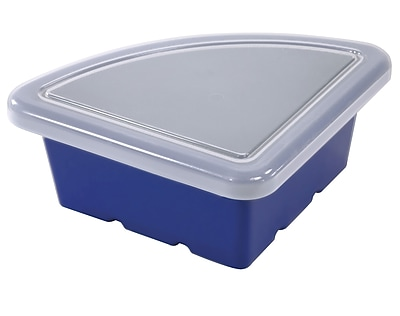 Offex Quarter Circle Classroom Storage Bins with Lid, Blue, 4 Pack (OF-ELR-0803-BL)