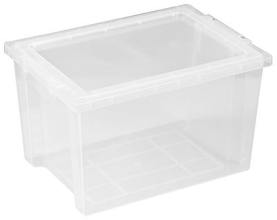 Offex Large Storage Bins with Lids - Clear, 4 Pack (OF-ELR-0723-CL)
