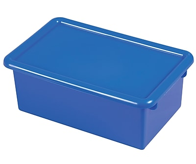 Offex Stack and Store Tub with Lid, Blue, 6 Pack (OF-ELR-0102-BL)