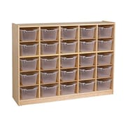 Offex Birch 25 Cubby Tray Cabinet with Clear Bins (OF-ELR-0427-CL)