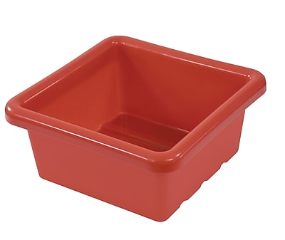 Offex Square Tray without Lid, Red, 4 Pack (OF-ELR-0800-RD)