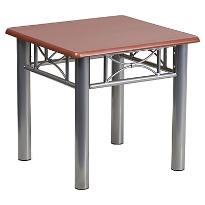 Offex Mahogany Laminate End Table with Silver Steel Frame (OF-JB-5-END-MAH)