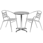 "Offex 23.5"" Round Aluminum Indoor-Outdoor Table with 2 Slat Back Chairs (OF-A24R17BCH2)"