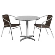 "Offex 31.5"" Round Aluminum Indoor-Outdoor Table Set with 2 Dark Brown Rattan Chairs (OF-TH-AL2R20CH2)"