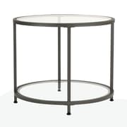 Offex Camber Round Occasional Side Table, Pewter/Clear Glass (OF-71004)