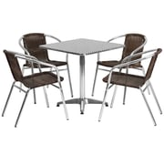 "Offex 27.5"" Square Aluminum Indoor-Outdoor Table Set with 4 Dark Brown Rattan Chairs (OF-TH-AL8S20CH4)"