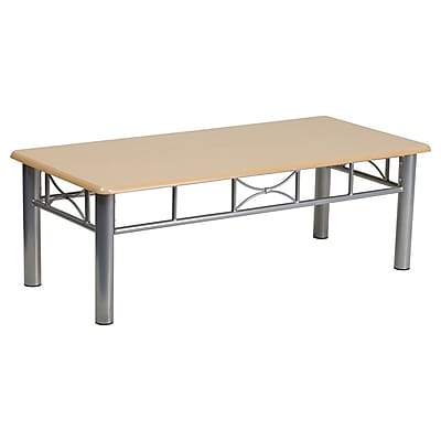 Offex Natural Laminate Coffee Table with Silver Steel Frame (OF-JB-6-COF-NAT)