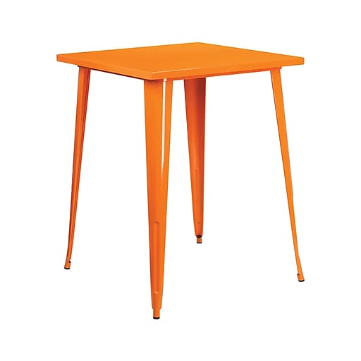 """Offex 31.5"""" Square Bar Height Orange Metal Indoor-Outdoor Table (OF-51040-40-OR)"""
