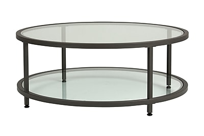 Offex Camber Collection Round Coffee Table, Pewter/Clear Glass (OF-71003)