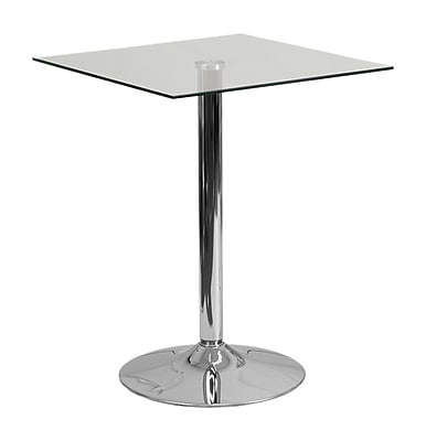 """Offex 23.75"""" Square Glass Table with 30""""H Chrome Base (OF-CH-4-GG)"""