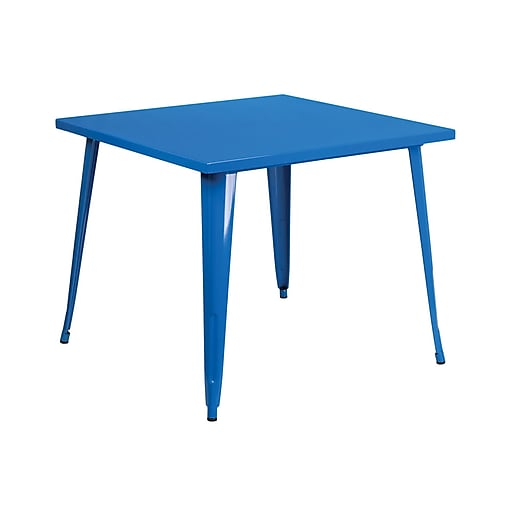 """Offex 35.5"""" Square Blue Metal Indoor-Outdoor Table (OF-51050-29-BL)"""