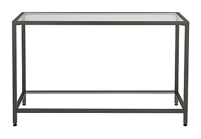 Offex Modern Camber Collection Console Table, Pewter/Clear Glass (OF-71001)