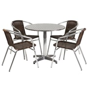 "Offex 31.5"" Round Aluminum Indoor-Outdoor Table Set with 4 Dark Brown Rattan Chairs (OF-TH-ALU3D0CH4)"