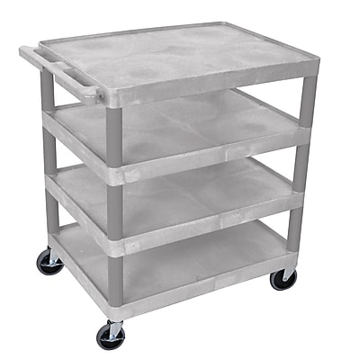 Offex Four Flat-Shelf Structural Foam Plastic Utility Cart, Gray (OF-BC40-G)