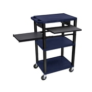 "Offex 24""W 3 Shelf AV Cart with Front and Side Pullout Shelf, Electric, Navy/Black (OF-WTPSLP42ZE-B)"